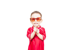 Happy cute boy wearing sunglass Stock Photo