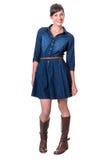 Happy cute brunette in denim dress Stock Image