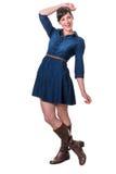 Happy cute brunette in denim dress Royalty Free Stock Photo