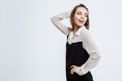 Happy cute businesswoman looking away Royalty Free Stock Photo