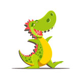 Happy cute cartoon dinosaur isolated on white Royalty Free Stock Photos