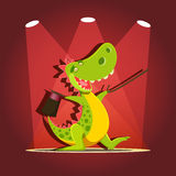 Happy cute cartoon dinosaur at the stage with spotlights. Vector illustration of happy cute cartoon dinosaur at the stage with spotlights Stock Photos