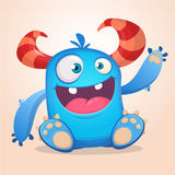 Happy cute cartoon monster. Halloween vector blue and horned monster sitting and waving.  Royalty Free Stock Images