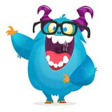 Happy cute cartoon monster wearing eyeglasses. Halloween vector blue and horned monster waving.  vector illustration