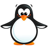 Happy cute cartoon smiling black white penguin with orange beak Royalty Free Stock Photos