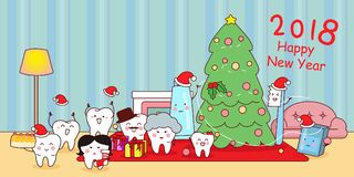 Tooth with new year. Happy cute cartoon tooth family,  celebrate Christmas Stock Images
