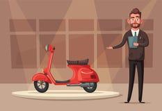 Happy cute colsuntant or salesman. Vector cartoon illustration. Happy cute salesman character. Vector cartoon illustration. Real estate agent, banker, car seller stock illustration