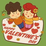 Happy Cute Couple with Flowers and Hearts for Valentine's Day, Vector Illustration Stock Image