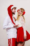 Happy cute couple woman and man. Christmas. Stock Images