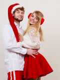 Happy cute couple woman and man. Christmas. Royalty Free Stock Photos