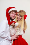 Happy cute couple woman and man. Christmas. Royalty Free Stock Photo