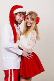 Happy cute couple woman and man. Christmas. Royalty Free Stock Image