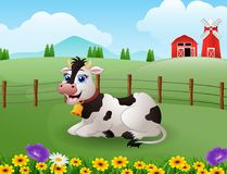 Happy cute cow in the farm with green field. Illustration of happy cute cow in the farm with green field Stock Photography