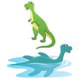 Happy Cute Dinosaurs Vector Illustration