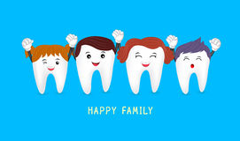Happy cute family cartoon tooth characters. Stock Photography