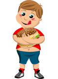 Happy Cute Fat Kid Hugging Big Hamburger Royalty Free Stock Images