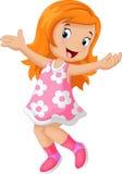 Happy cute girl cartoon Royalty Free Stock Photos