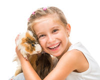 Happy cute girl with a cavy. Happy  girl with a cavy. studio shot isolated on white Stock Photos