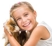 Happy cute girl with a cavy. Happy girl with a cavy. studio shot on white background Stock Photos