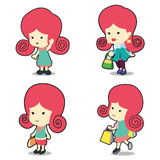 Happy cute girl in many poses cartoon stock photo