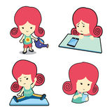 Happy cute girl in many poses cartoon stock image