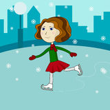 Happy cute girl riding on ice skates Royalty Free Stock Photography