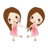Happy Cute Girl in Rose Pink Dress. Woman Dancing.  on White Background. Stock Photography