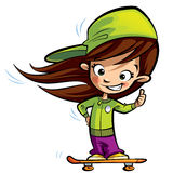 Happy cute girl on a skateboard making a thumbs up gesture. Happy cute girl with long hair on an orange skateboard making a thumbs up gesture Stock Images