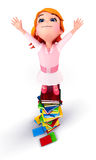 Happy cute girl standing on the heap of books Royalty Free Stock Photos