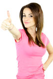 Happy cute girl thumb up Royalty Free Stock Images