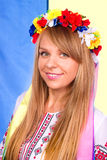 Happy cute girl in the Ukrainian national costume Stock Photography