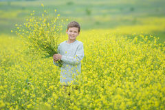 Happy cute handsome little kid boy on green grass lawn with blooming yellow dandelion flowers on sunny spring or summer day. Littl. E boy dreaming and relaxing Stock Image