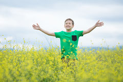 Happy cute handsome little kid boy on green grass lawn with blooming yellow dandelion flowers on sunny spring or summer day. Littl Stock Photography