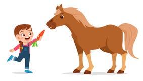 Free Happy Cute Kid Girl Feeding Cute Horse Royalty Free Stock Photo - 164706605