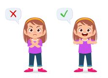 Free Happy Cute Kid Girl With Correct And Wrong Sign Stock Photography - 164706082
