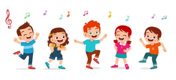 happy cute kids boy and girl dance together
