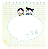 Happy cute Kids & Doodle notepad with Grid. Two cute happy Children, Notepad and Speech Bubble Stock Images