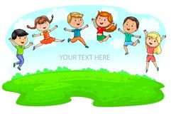 Happy cute kids jumping on green meadow and blue sky and place u Stock Image