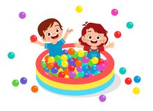 Free Happy Cute Kids Play Ball Bath Pool Royalty Free Stock Images - 160957979