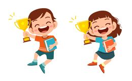 Free Happy Cute Kids Win Game Gold Trophy Stock Image - 160885601