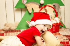 Happy cute little baby on Christmas Royalty Free Stock Photography