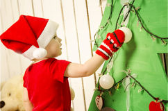 Happy cute little baby on Christmas Royalty Free Stock Photos