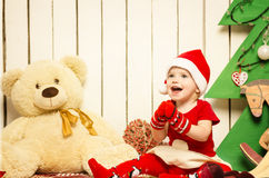 Happy cute little baby on Christmas Stock Photography