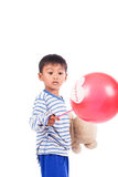 Happy cute little boy play  red balloon Stock Photography