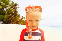 Happy cute little boy snorkel at beach Royalty Free Stock Image