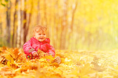 Happy cute little girl in autumn leaves Stock Image