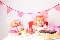 Happy cute little girl at birthday party Royalty Free Stock Photo