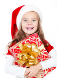 Happy cute little girl with christmas gift box Stock Photography