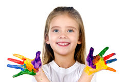 Happy cute little girl with colorful painted hands Stock Image