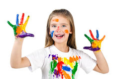 Happy cute little girl with colorful painted hands isolated Stock Photography